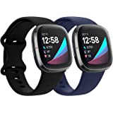 QIBOX Sport Bands Compatible with Fitbit Sense/Versa 3, 2-Pack Soft Silicone Waterproof Breathable Watch Strap Replacement Wr