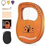 Topnaca 16弦木製ライアーハープ 金属弦 マホガニーソリッドウッド 弦楽器 キャリングバッグチューニングレンチクリーニングクロスストリング付き