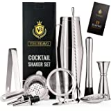 11-Piece Bartender Kit Boston Cocktail Shaker Bar Set by VinoBravo : 2 Weighted Shaker Tins, Strainer Set, Double Jigger, Bar