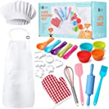 Kids Baking Set 32 Pcs Includes Kids Chef Apron & Hat, Cookie Cutter, Oven Mitt, Real Baking Tools with Rolling Pin for Kids