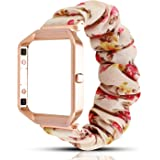 YOSWAN Scrunchie Elastic Band Compatible for Fitbit Blaze Smartwatch Fitness,Clothing Wrist Strap with Metal Frame Replacemen