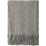 """Throw Blanket Textured Solid Soft Sofa Couch Cover Decorative Knitted Blanket, 50"""" x 60"""", Dark Grey"""