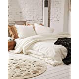 Boho Chic Solid Ivory Doona Cover Cream Macrame Fringe Tassel Cotton Duvet Comforter Cover and Pillow Sham 2 pc. Off White Qu