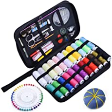Ansgo ソーイングセット 裁縫セット 携帯式 22種カラー 高質な多色縫い糸 ミシンアクセサリー 家庭用 旅行用 学校用 プロ裁縫道具 ブラック収納バッグ付き
