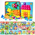 JoyGrow Button Art Toys Color and Geometry Shape 2 in 1 Matching Mosaic Pegboard Early Learning Educational Toy for Boys and