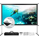 """Projector Screen with Stand, Upgraded 120"""" 4K HD Outdoor/Indoor Portable Projector Screen 16:9 Foldable Movie Projection Scre"""