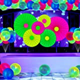 31 Pieces Glow Neon Party Supplies UV Reactive Set Fluorescent Hanging Paper Fans Black Light Glow Balloons Neon Paper Fans a