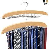 ネクタイハンガー ネクタイ収納 ネクタイ掛け 24本掛け 木製ハンガー ベルト/ネクタイ/スカーフ/キャミソール 収納 整理 滑らないハンガー (黄)