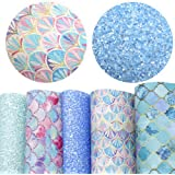 "David accessories 6 Pcs 8"" x 13"" (20 cm x 34 cm) Printed Faux Leather Fabric Sheets Include 2 Kinds of Leather Fabric for DIY"