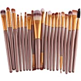 KOLIGHT Set of 20pcs Cosmetic Makeup Brushes Set Powder Foundation Eyeliner Eyeshadow Lip Brush for Beautiful Female (Gold)