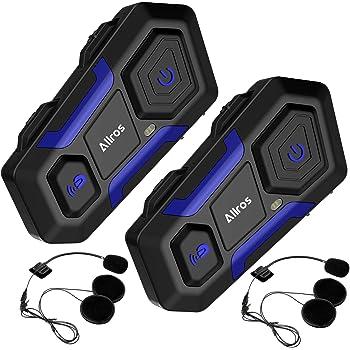 ALLROS インカム バイク Bluetooth 技適マーク取得 高音質 長距離通信 FMラジオ GPS案内 連続12時間通話 インターコム 防水 音楽 簡単装着 日本語説明書(2台セット)