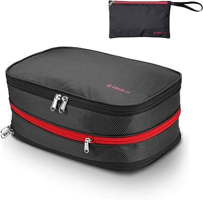 圧縮バッグ便利旅行収納バッグトラベルポーチ便利グッズファスナー圧縮で衣類スペース50%節約衣類仕分け乾湿分離防水軽量出張旅行簡単圧縮 防水袋付き 15L ブラック