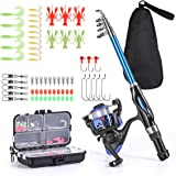 Leo Light Weight Kids Fishing Pole Telescopic Fishing Rod and Reel Combos with Full Kits Lure Case and Carry Bag for Youth Fi