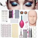 Mannequin Training Head False Eyelashes Extension Practice Set Make Up Eye Lashes Train Model Graft Kits for Professionals &