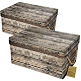 Livememory Storage Bins Stackable Storage Boxes with Lid and Handles for Office, Bedroom, Closet, Toys- Wood Grain (2 Pack)