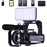 ORDRO HDR-AC5 4K Camcorder 12X Optical Zoom Video Camera UHD 1080P 60FPS Vlog Camera Video Recorder with MIC, LED Light, Wide