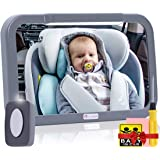Baby Car Mirror with Light, Innokids Dual Mode LED Lighting by Remote Control, Clear View of Infant in Rear Facing Back Seat