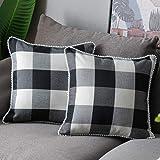WLNUI Black Buffalo Plaid Pillow Covers 16x16 Inch Set of 2 Retro Farmhouse Rustic Check Throw Pillow Covers Square Cushion C