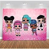 Cartoon Doll Girls Toy Sweet Photography Backdrops Newborn Baby Shower for Children Vinyl Hot Pink Bokeh Glitter Sequin Photo