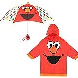 Sesame Street Little KidsUmbrellaandSlicker, Elmo Rainwear Set for Boy's Ages 2-5