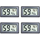 Veanic 4-Pack Mini Digital Electronic Temperature Humidity Meters Gauge Indoor Thermometer Hygrometer LCD Display Fahrenheit
