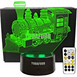 YODAFOOR Steam Train Night Lights for Kids Baby Teen 3D Illusion Lamp, Birthday Party Gift Anniversary Present, Multi Color R