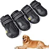 XSY&G Dog Boots,Waterproof Dog Shoes,Dog Booties with Reflective Velcro Rugged Anti-Slip Sole and Skid-Proof,Outdoor Dog Shoe