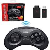 retro-bit SEGA Genesis® 8-Button Arcade Pad 2.4GHz Wireless Clear Black レトロビット セガ メガドライブ® 8ボタン アーケードパッド 2.4GHz ワイヤレス コントローラ ブ