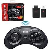 Retro-Bit Sega Genesis 2.4 GHz Wireless Controller 8-Button Arcade Pad for Sega Genesis Original/Mini, Switch, PC, Mac – Incl