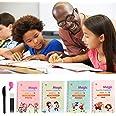 4PCS Magic Reusable Practice Copybook for Kids - Handwriting Workbook with Drawing Pens for Preschoolers, Writing Practice Bo