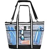 Vulken 42L Extra Large Mesh Beach Bag. Multipurpose Tote Bag Shoulder Bag for Picnic, Travel, Shopping and Gym. 9 Pockets Top