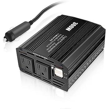 カーインバーター 300W シガーソケット 車載充電器 USB 2ポート ACコンセント 2口 DC12VをAC110Vに変換 (バッテリー接続コードあり)ブラック