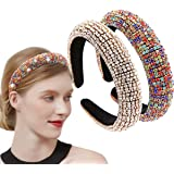 2 Pieces Rhinestone Headbands Diamond Crystal Beaded Headband Sparkle Wide Padded Headband Party Wedding Hair Accessories Col