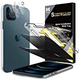 4 Pack HATOSHI 2 Pack Privacy Screen Protector + 2 Pack Camera Lens Protector Compatible with iPhone 12 Pro 5G 6.1 inches Tem