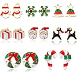 Christmas Earrings for Girls Hypoallergenic Cubic Zirconia Star Snowflake Cute Jewelry Set Snowman Candy Cane Santa Stud Earr