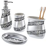 Creative Scents Bathroom Accessories set 4-Piece Silver Mosaic Glass Luxury Bathroom Gift Set Includes Soap Dispenser Toothbr