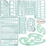 eZAKKA 13枚入り テンプレート多形定規セット 製図用 オフィス 学校教育 建築科用 透明幾何図面ルーラー 測定物差し 一般総合定規 収納袋付き
