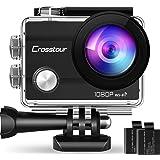 【新型】Crosstour アクションカメラ Wi-Fi搭載 1080P フルHD 高画質 1400万画素 30M防水 水中カメラ ループ録画 防水 防塵 耐衝撃 170度広角レンズ 2インチLD液晶画面スポーツカメラ バイクカメラ 2つ1050mA