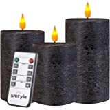 smtyle Black Fllickering Flameless Candles Home Decor Set of 3 Battery Operated with None-Moving Flame Wick LED Pillar Candle