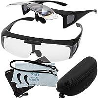 GOKEI ルーペメガネ 1.6倍 最新型 跳ね上げ機能付き 跳ね上げルーペ メガネの上からも掛けられる 拡大鏡 めがね…