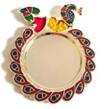 Peacock & Leaf Acrylic (Plactic) Thali. This Attractive Plastic Thali. This Traditioanal Decorative Fancy Design Thali. with