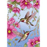 Toland Home Garden Hummingbirds with Pink 28 x 40 Inch Decorative Spring Summer Bird Flower House Flag