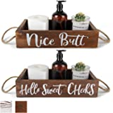 LELEE Nice Butt Bathroom Decor Box Toilet Paper Holder - 2 Sides with Funny Sayings Sweet Cheeks Bathroom Decor for Toilet Pa