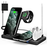 WAITIEE Updated Version,Wireless Charger 5 in 1,Qi Wireless Charging Station for iWatch 6/5/4/3/2/1& AirPods3/2/1 & Pencil &
