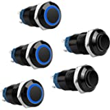 5Pcs 12V 24V 12mm ON/OFF Latching Push Button Switch with High Round Cap and Blue Indicator Light, Waterproof Pushbutton Swit