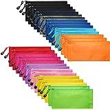 LABUK 30pcs Zipper Pencil Pouch with 12 Colors, Waterproof Bag Penci Pouch Bulk for Office Supplies, School Supplies, Travel