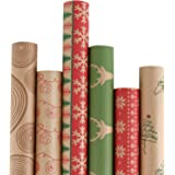 RUSPEPA Christmas Gift Wrapping Paper - Brown Kraft Paper with Red and Green Pattern for Gift-Christmas Elements Collection-6