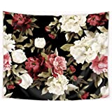 Riyidecor Floral Tapestry Black Background Red and White Flower Girls Women Feminine Peony Roses Leaves 51x59 Inch Chic Water
