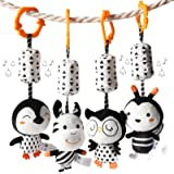 TUMAMA Black and White Baby Toys for 3 6 9 12 Months,Plush Hanging Rattles and Wind Chimes for Boys and Girls