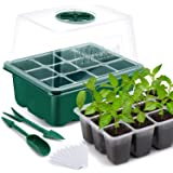 """Wrexat 10 Pack Seed Trays Seedling Starter Tray- Humidity Adjustable with Dome, Transparent Covers Height 3.3"""", Mini Propagat"""